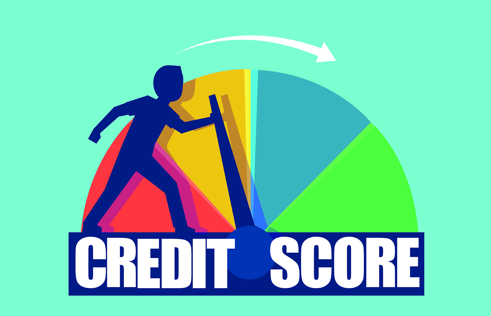 A animated man pushing the hand on the credit score rating to make it higher